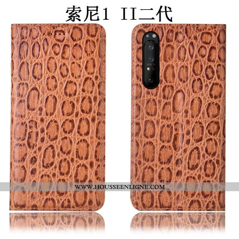 Étui Sony Xperia 1 Ii Protection Cuir Véritable Téléphone Portable Modèle Fleurie Housse Coque Incas