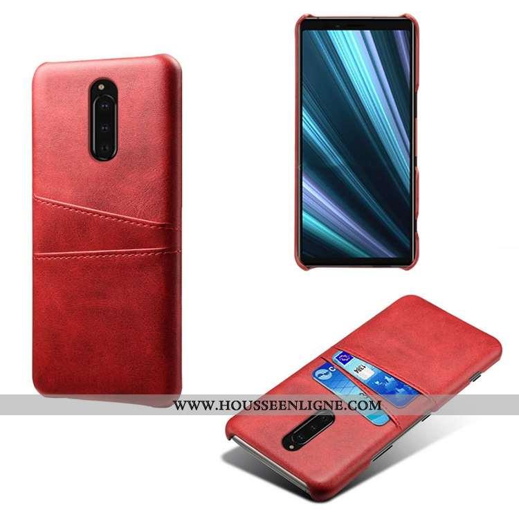 Étui Sony Xperia 1 Modèle Fleurie Personnalité Incassable Petit Cuir Téléphone Portable Bovins Rouge