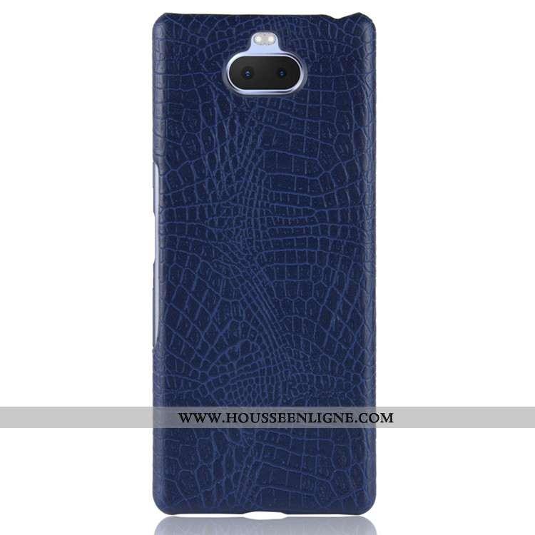 Étui Sony Xperia 10 Cuir Protection Coque Bleu Marin Téléphone Portable Difficile Bleu Foncé