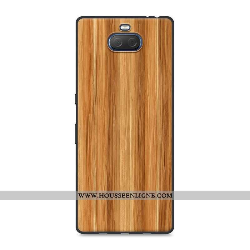 Étui Sony Xperia 10 En Bois Tendance Téléphone Portable Créatif Personnalité Coque Khaki