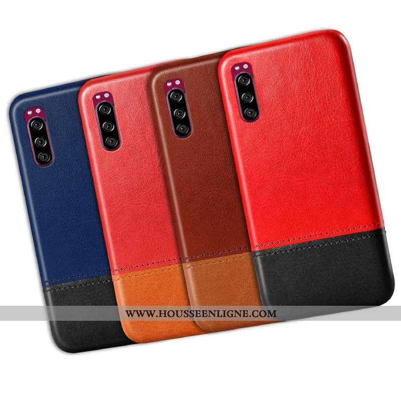 Étui Sony Xperia 10 Ii Protection Cuir Difficile Coque Téléphone Portable Qualité Rouge