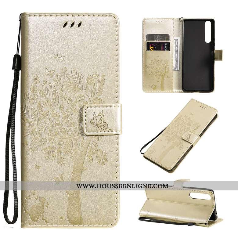 Étui Sony Xperia 10 Ii Protection Cuir Fluide Doux Clamshell Or Téléphone Portable Coque Doré