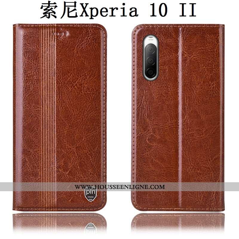 Étui Sony Xperia 10 Ii Protection Cuir Véritable Téléphone Portable Incassable Coque Housse Marron