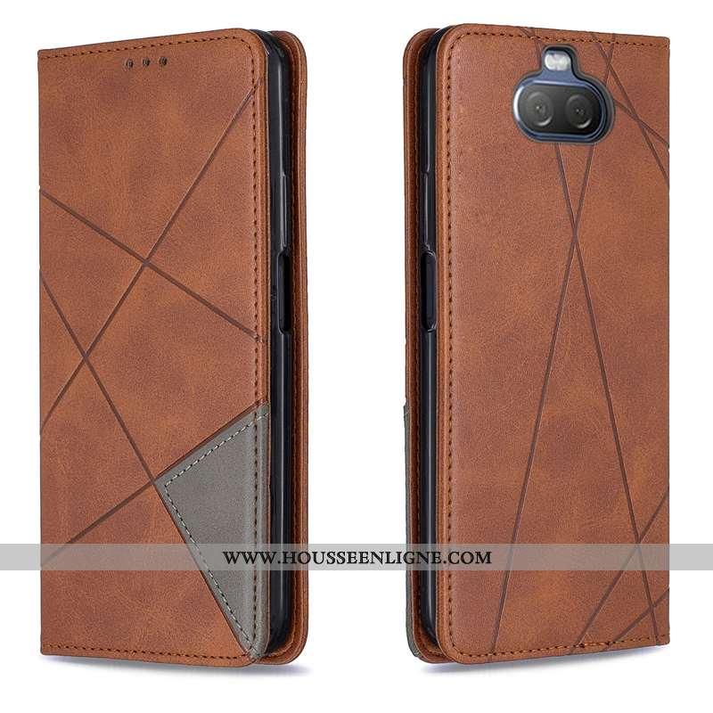 Étui Sony Xperia 10 Protection Coque Tout Compris Marron Automatique Téléphone Portable