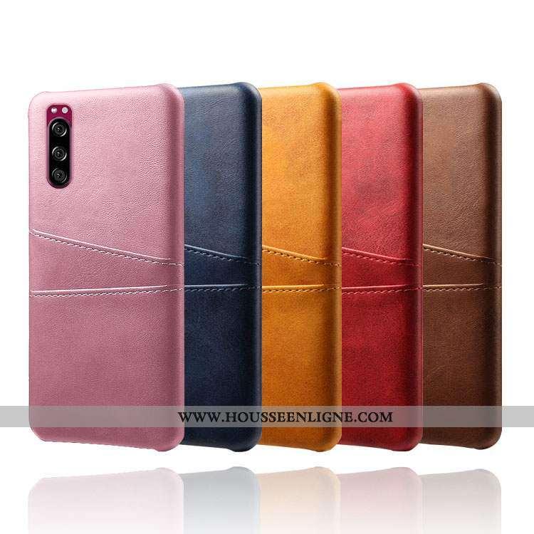 Étui Sony Xperia 5 Cuir Protection Qualité Rose Téléphone Portable Coque
