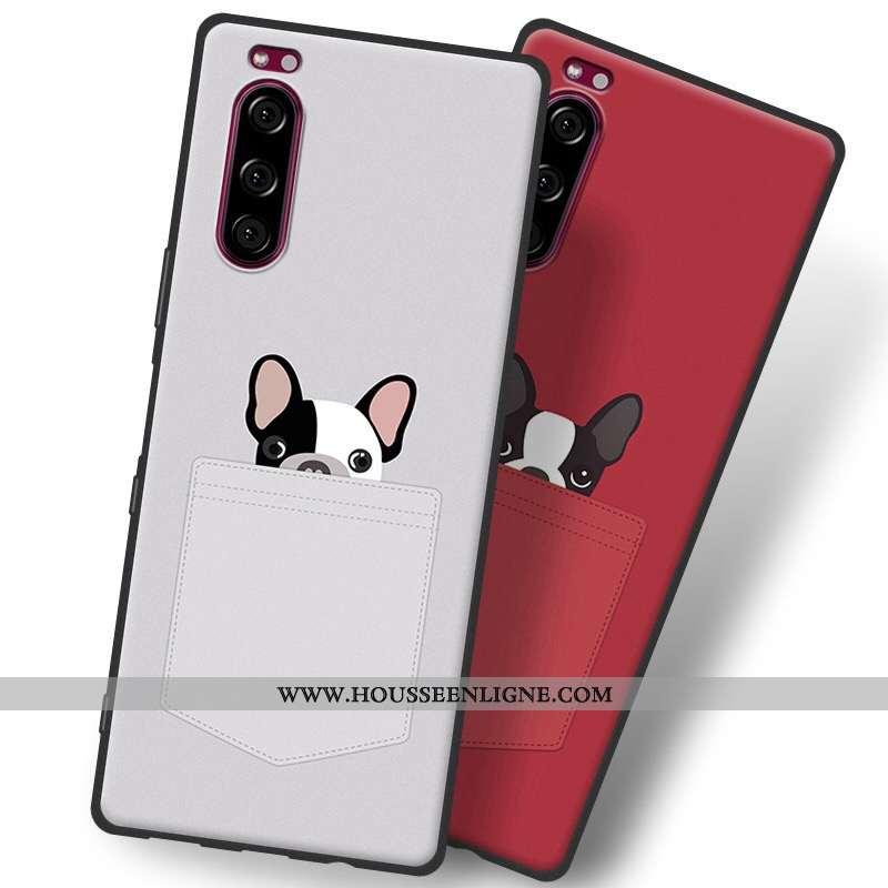 Étui Sony Xperia 5 Fluide Doux Silicone Téléphone Portable 2020 Tout Compris Protection Gris