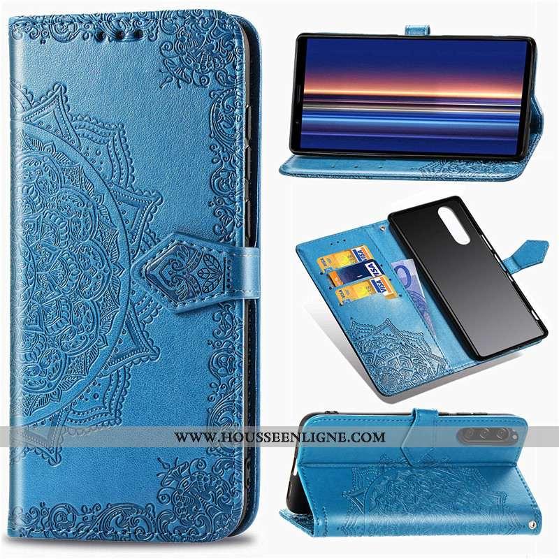 Étui Sony Xperia 5 Protection Ornements Suspendus Bleu Cuir Gaufrage Housse Téléphone Portable