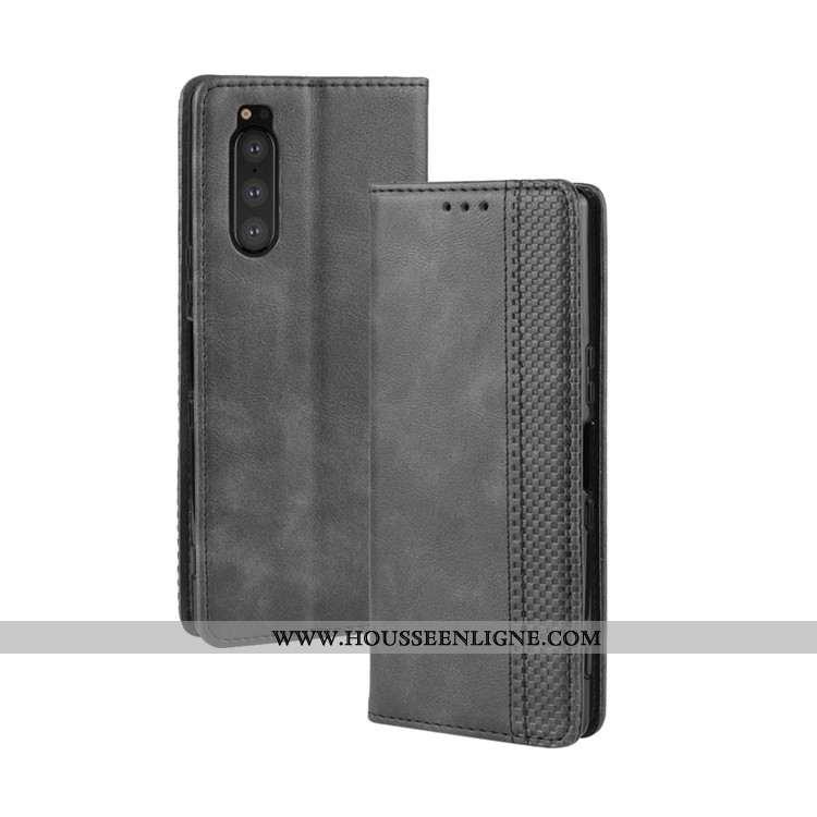 Étui Sony Xperia 5 Protection Portefeuille Noir Cuir Coque Téléphone Portable Housse