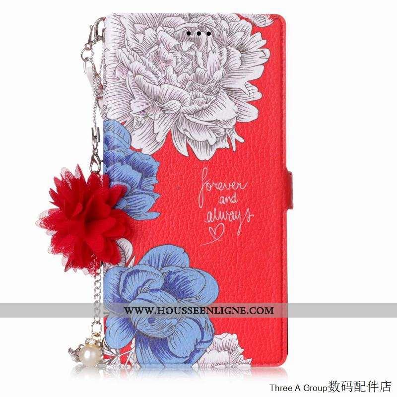 Étui Sony Xperia L1 Cuir Protection Portefeuille Coque Téléphone Portable Rouge