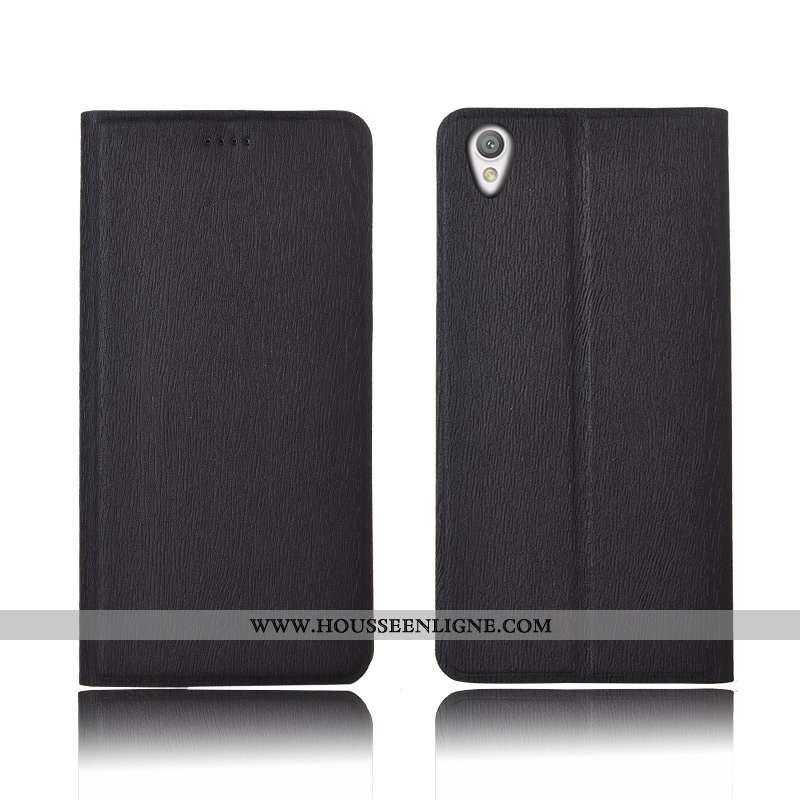 Étui Sony Xperia L1 Fluide Doux Silicone Incassable Clamshell Cuir Arbres Protection Noir