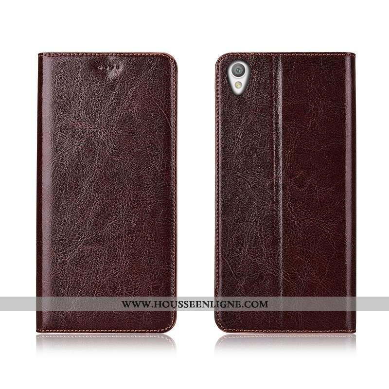 Étui Sony Xperia L1 Protection Cuir Véritable Téléphone Portable Marron Nouveau Incassable