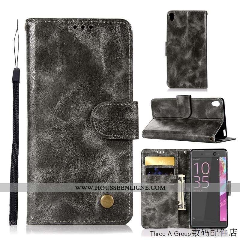 Étui Sony Xperia L1 Protection Vintage Gris Téléphone Portable Housse Business