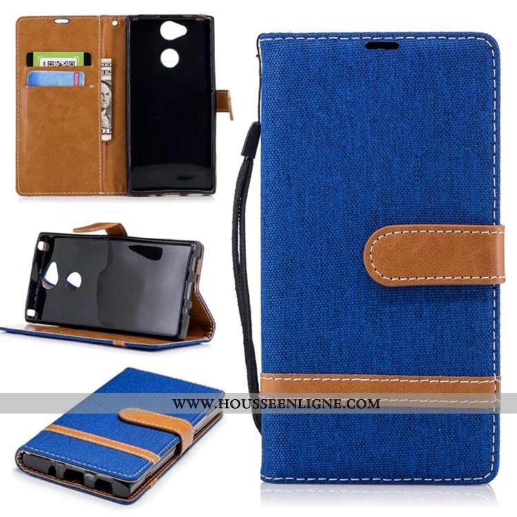 Étui Sony Xperia L2 Portefeuille Cuir Housse Téléphone Portable Carte Pure Bleu