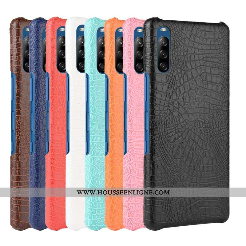Étui Sony Xperia L4 Protection Cuir Coque Crocodile Téléphone Portable Modèle Fleurie Noir