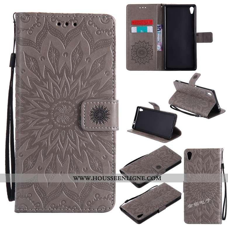 Étui Sony Xperia Xa Cuir Fluide Doux Téléphone Portable Gris Clamshell Ornements Suspendus