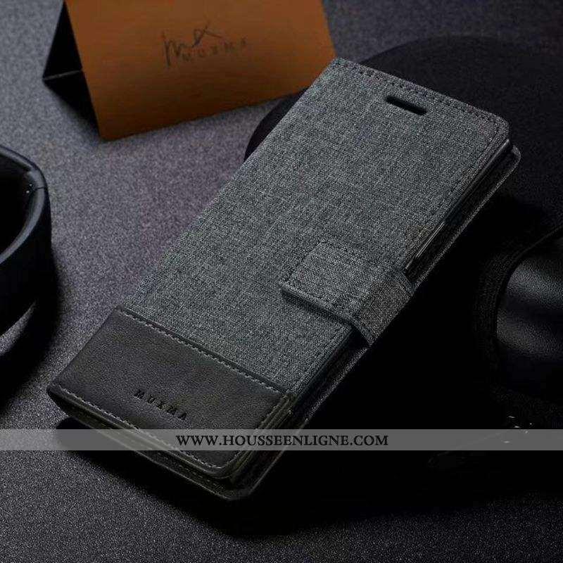Étui Sony Xperia Xa Cuir Tissu Téléphone Portable Coque Gris