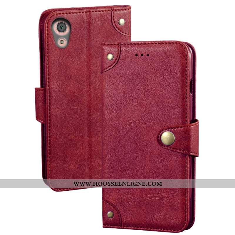 Étui Sony Xperia Xa1 Cuir Protection Téléphone Portable Coque Rouge