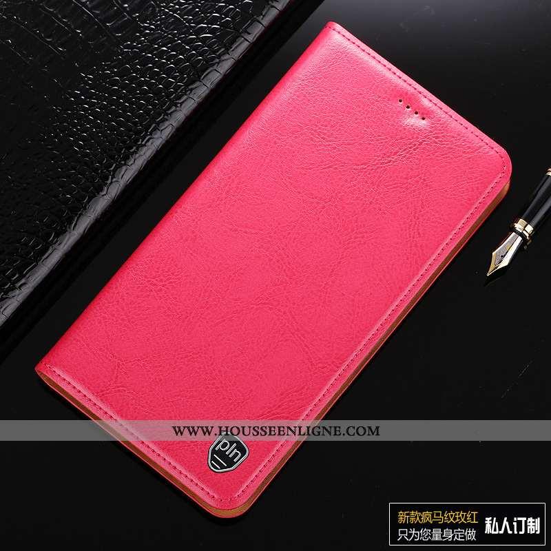 Étui Sony Xperia Xa1 Cuir Véritable Cuir Rouge Téléphone Portable Coque Incassable Rose