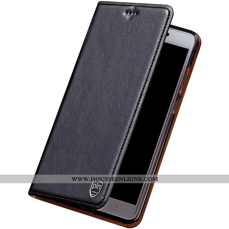 Étui Sony Xperia Xa1 Plus Cuir Véritable Manuel Coque Cuir Noir Protection