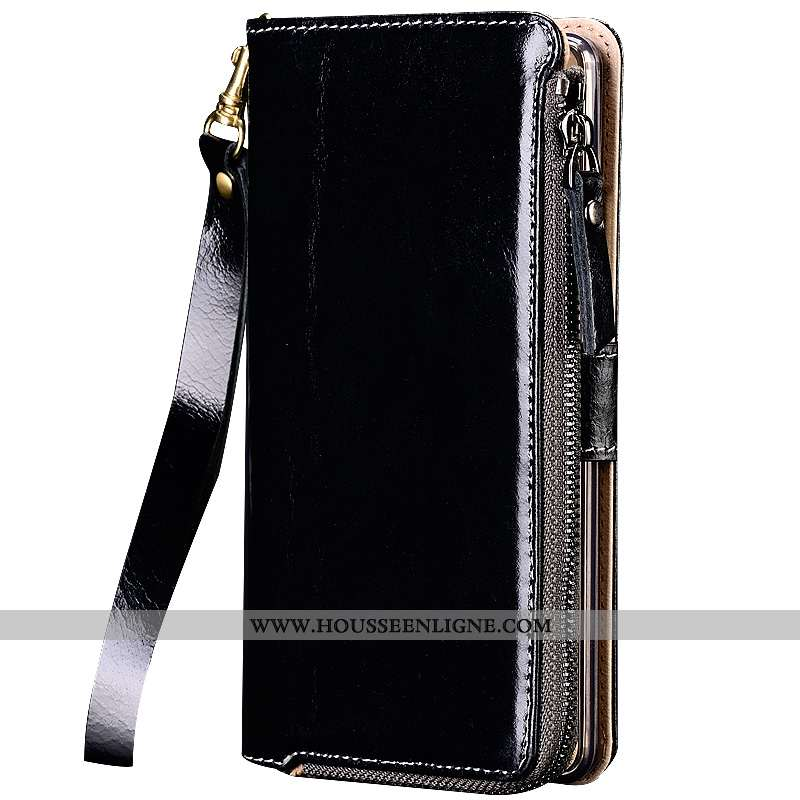 Étui Sony Xperia Xa1 Plus Cuir Véritable Portefeuille Noir Téléphone Portable Protection Coque