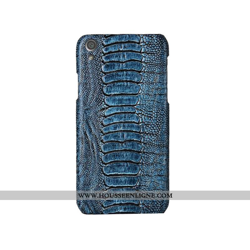 Étui Sony Xperia Xa1 Plus Cuir Véritable Protection Oiseau Bleu Téléphone Portable Créatif Personnal