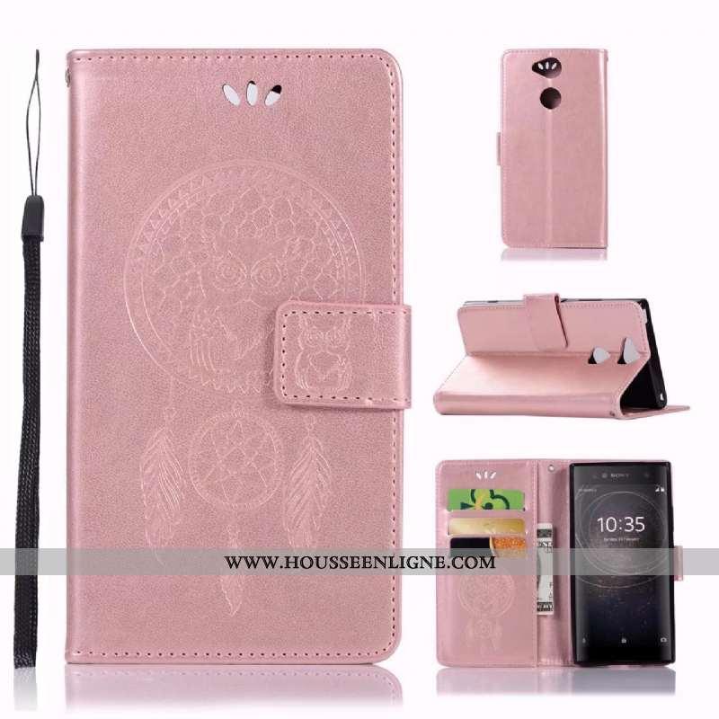 Étui Sony Xperia Xa2 Cuir Modèle Fleurie Imprimé Chat Téléphone Portable Coque Rose