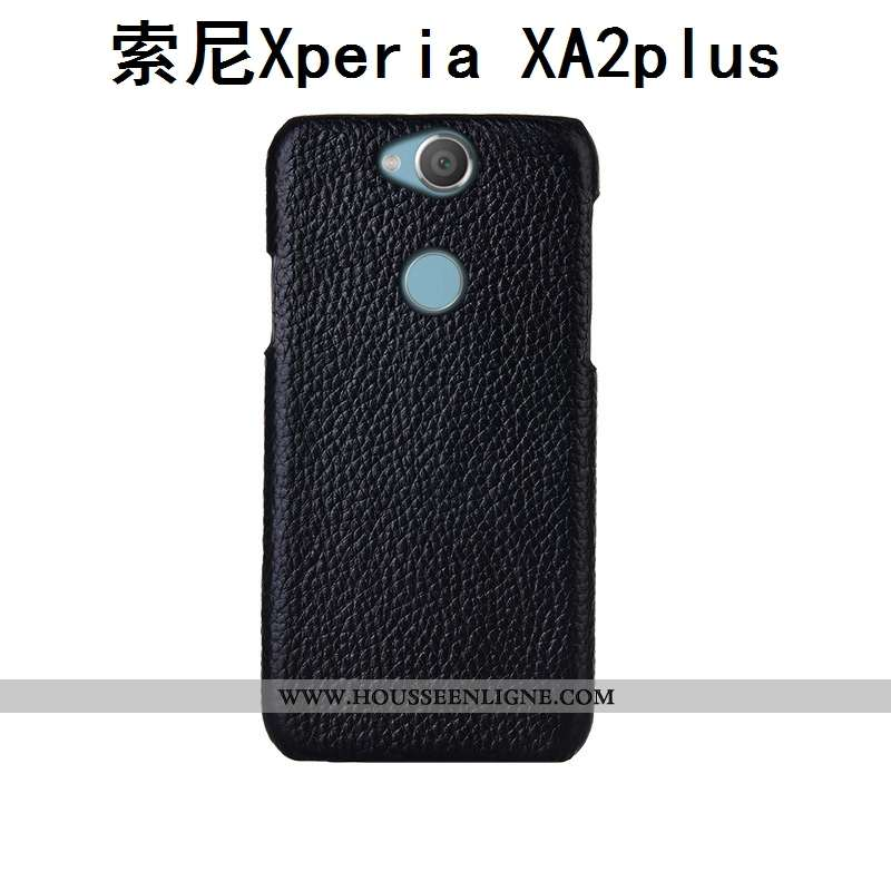 Étui Sony Xperia Xa2 Plus Cuir Mode Coque Incassable Bovins Téléphone Portable Couvercle Arrière Noi