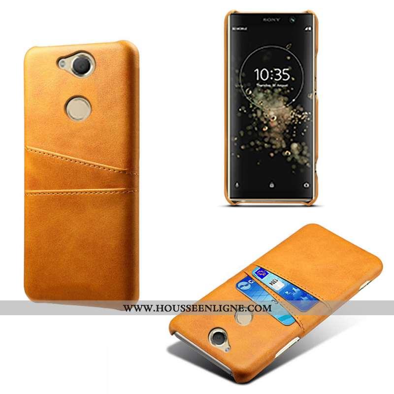 Étui Sony Xperia Xa2 Plus Cuir Qualité Coque Carte Téléphone Portable Jaune