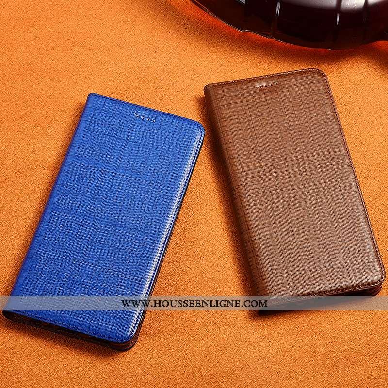 Étui Sony Xperia Xa2 Plus Cuir Véritable Cuir Téléphone Portable Coque Bleu Clamshell Incassable