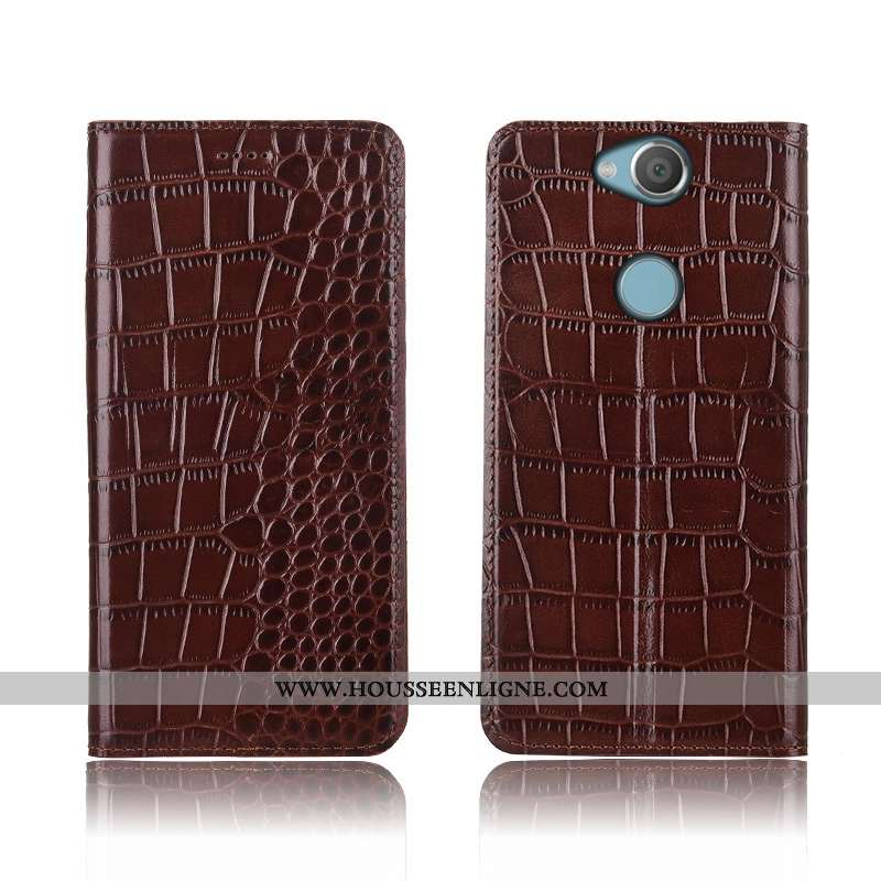 Étui Sony Xperia Xa2 Plus Fluide Doux Silicone Coque Crocodile Incassable Marron