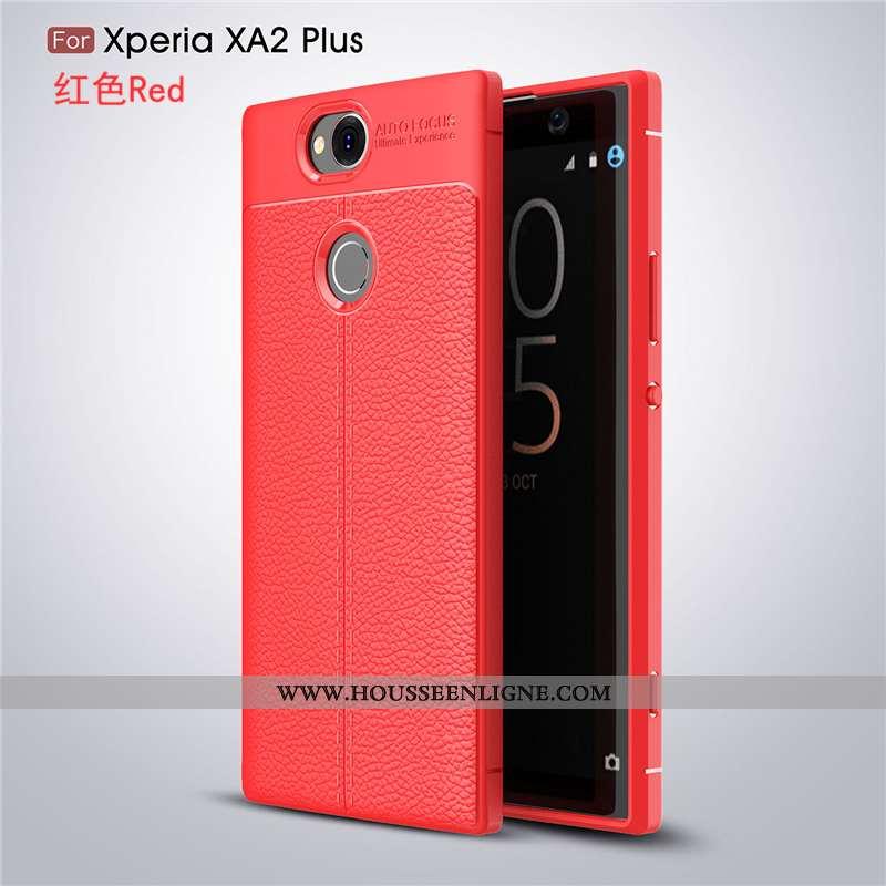 Étui Sony Xperia Xa2 Plus Mode Protection Tendance Coque Cuir Rouge