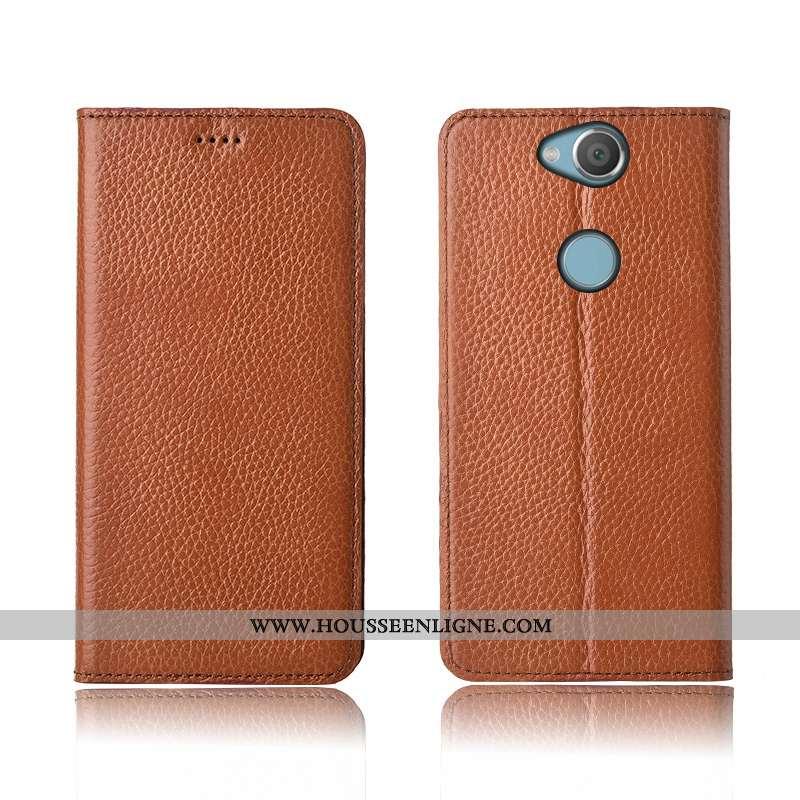 Étui Sony Xperia Xa2 Plus Protection Cuir Véritable Tout Compris Silicone Incassable Fluide Doux Mar