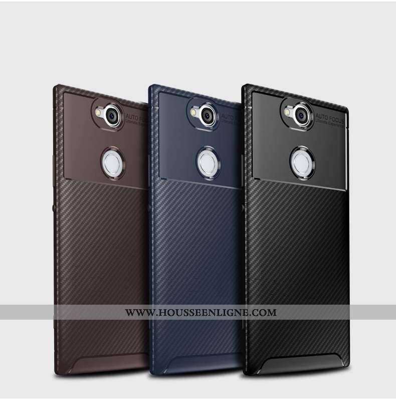 Étui Sony Xperia Xa2 Plus Silicone Modèle Fleurie Fibre Téléphone Portable Incassable Noir