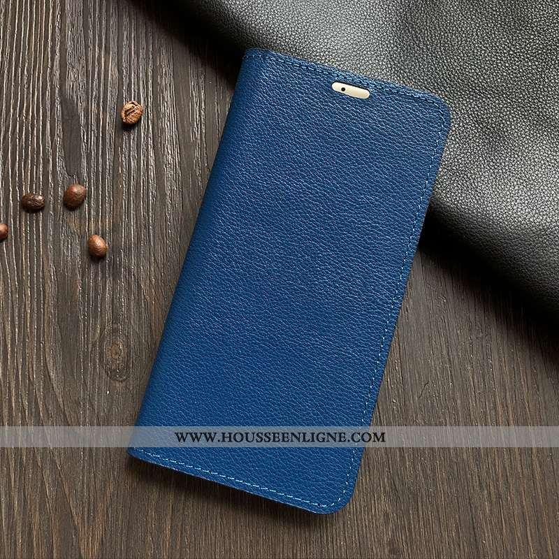 Étui Sony Xperia Xa2 Protection Cuir Véritable Housse Téléphone Portable Bleu Coque