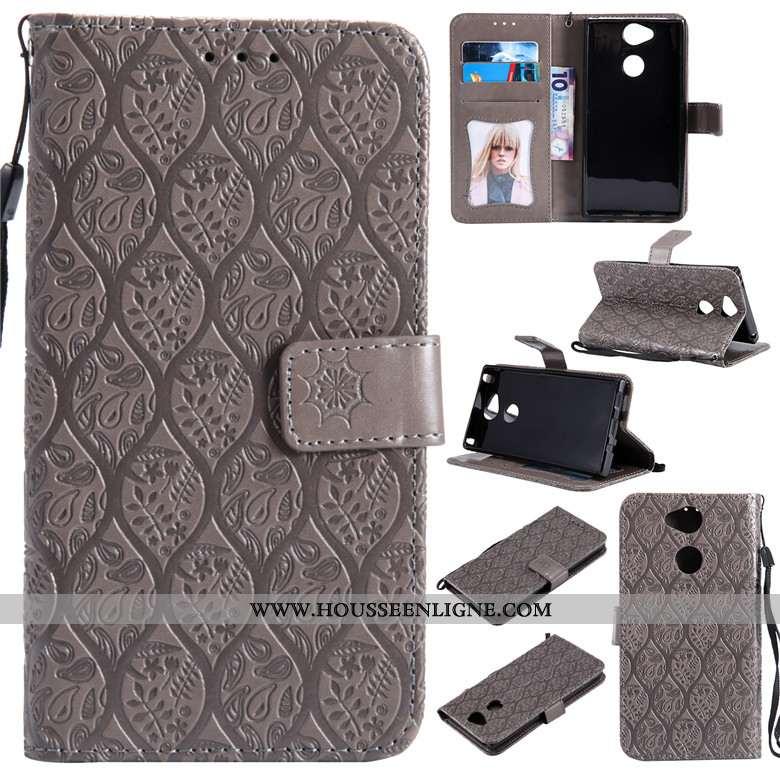 Étui Sony Xperia Xa2 Silicone Protection Incassable Téléphone Portable Cuir Clamshell Gris