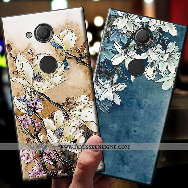 Étui Sony Xperia Xa2 Ultra Délavé En Daim Dessin Animé Incassable Fluide Doux Coque Bleu