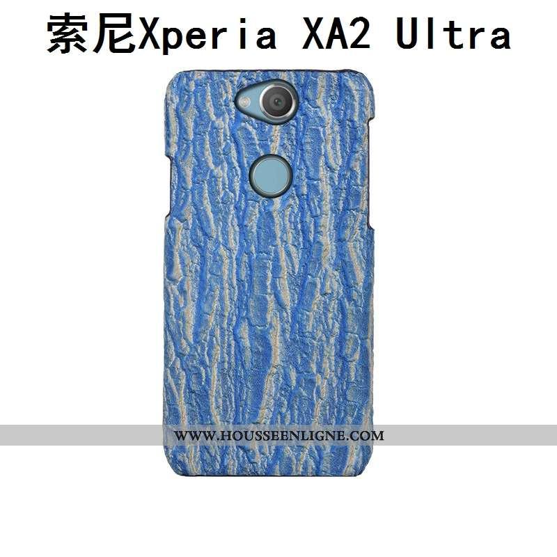 Étui Sony Xperia Xa2 Ultra Luxe Créatif Bleu Incassable Cuir Arbres
