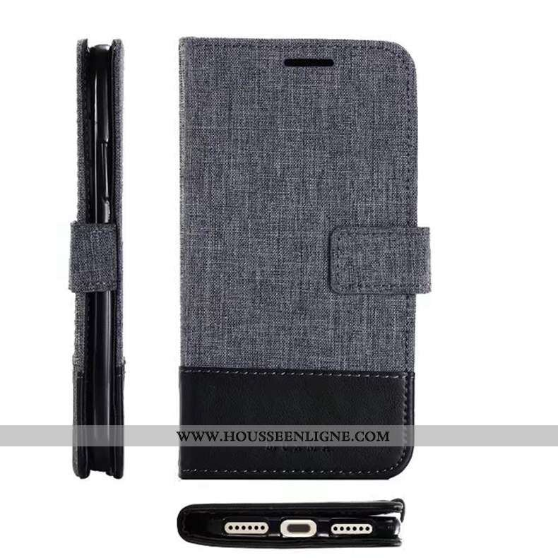 Étui Sony Xperia Xz Premium Cuir Téléphone Portable Gris Tissu Coque