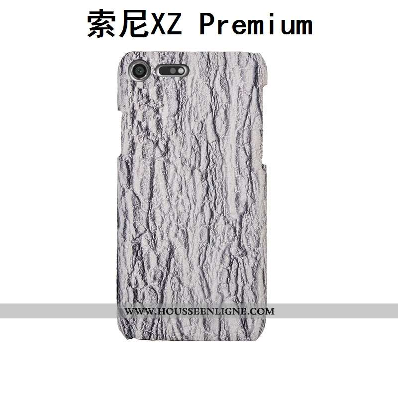 Étui Sony Xperia Xz Premium Mode Protection Créatif Cuir Véritable Téléphone Portable Arbres Gris