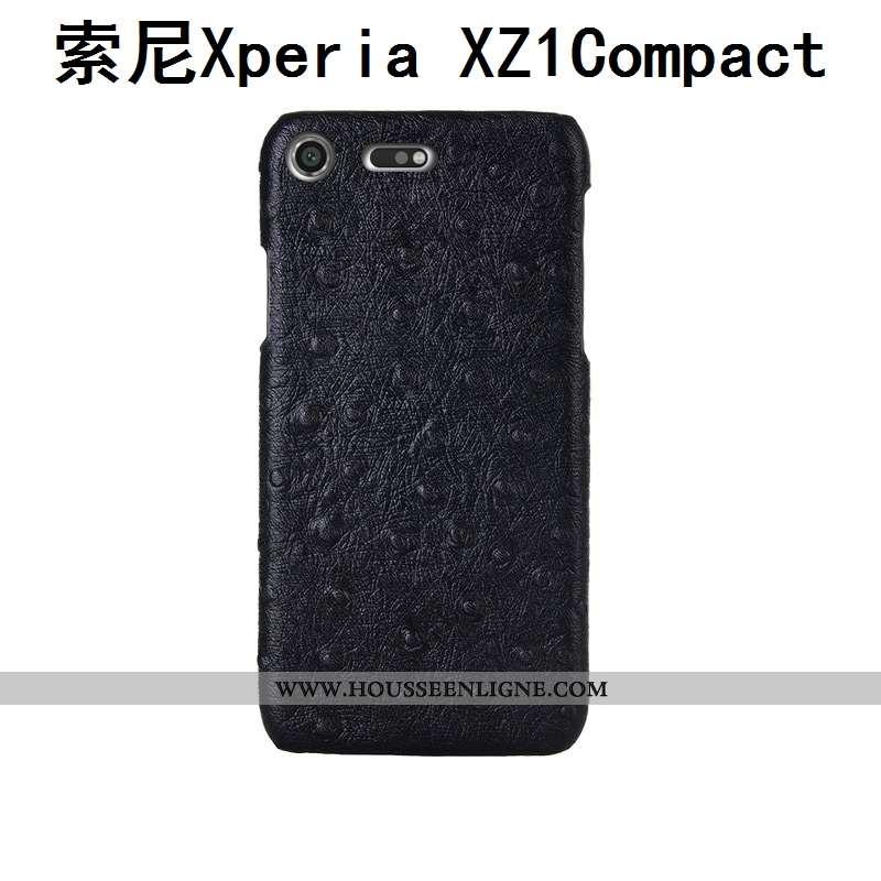 Étui Sony Xperia Xz1 Compact Créatif Cuir Véritable Mode Modèle Fleurie Coque Téléphone Portable Noi