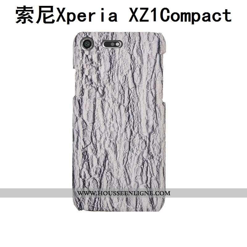 Étui Sony Xperia Xz1 Compact Cuir Véritable Cuir Personnalisé Gris Téléphone Portable Incassable Coq