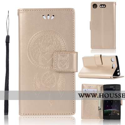 Étui Sony Xperia Xz1 Compact Protection Portefeuille Or Incassable Coque Téléphone Portable Doré