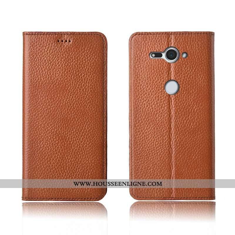 Étui Sony Xperia Xz2 Compact Cuir Véritable Cuir Incassable Silicone Tout Compris Litchi Marron