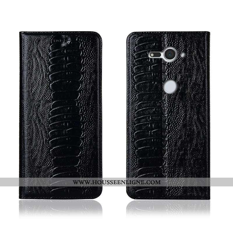 Étui Sony Xperia Xz2 Compact Cuir Véritable Cuir Tout Compris Incassable Oiseau Noir Silicone
