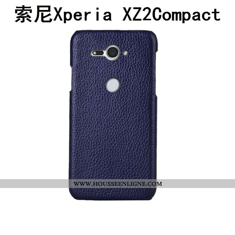 Étui Sony Xperia Xz2 Compact Mode Protection Luxe Personnalisé Téléphone Portable Litchi Bleu Foncé