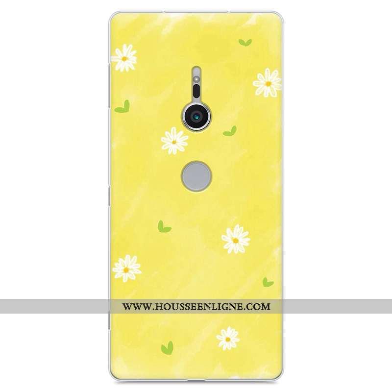 Étui Sony Xperia Xz2 Fluide Doux Silicone Incassable Créatif Tendance Protection Jaune