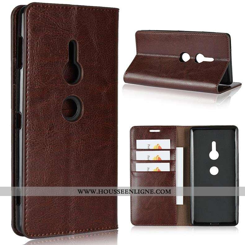 Étui Sony Xperia Xz2 Protection Cuir Véritable Cuir Coque Téléphone Portable Marron Housse