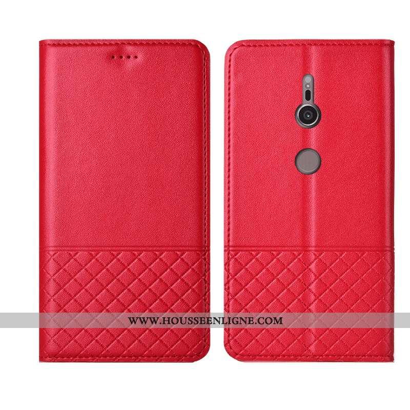 Étui Sony Xperia Xz3 Cuir Véritable Cuir Coque Rouge Protection Housse