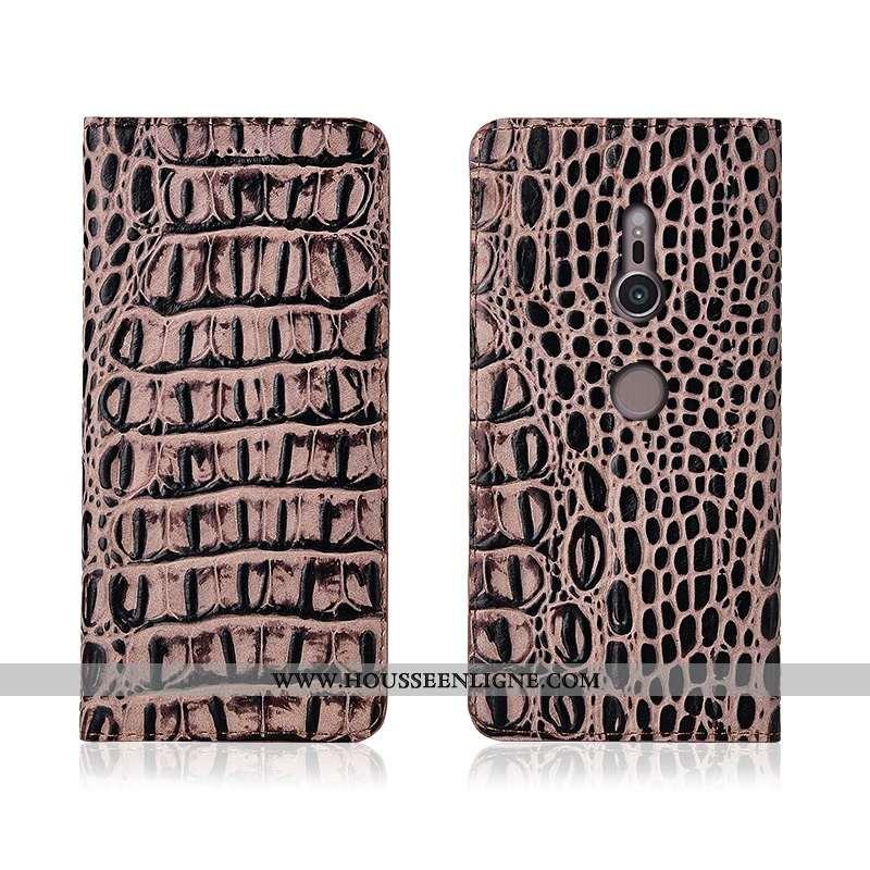 Étui Sony Xperia Xz3 Fluide Doux Silicone Incassable Cuir Véritable Protection Nouveau Khaki