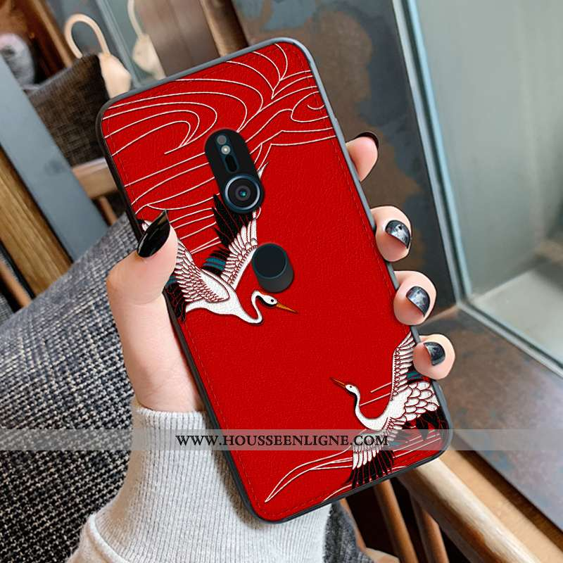 Étui Sony Xperia Xz3 Modèle Fleurie Silicone Coque Rouge Gaufrage Tendance